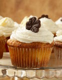 Cupcakes  with cream and chocolate Royalty Free Stock Images