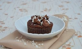 Cupcakes with cream and chocolate shavings Stock Photo