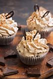 Cupcakes with cream and chocolate sprinkled with nuts. Delicious dessert.  royalty free stock images