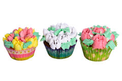 Cupcakes with cream isolated Royalty Free Stock Photo