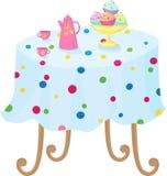 Cupcakes in de kom, coffee-pot en de koppen op t Royalty-vrije Stock Afbeelding