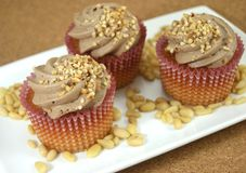 Cupcakes decorated with almonds Royalty Free Stock Images