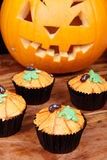 Cupcakes decorated as pumpkin Royalty Free Stock Photo