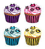 Cupcakes decorated with flowers. Cupcakes decorated with delicate flowers Royalty Free Stock Photography