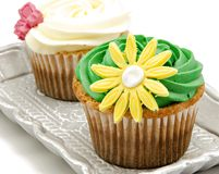 Cupcakes. Decorated with fondant served on a tray on white background Royalty Free Stock Photos