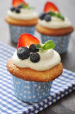 Cupcakes decorated with fresh berries Stock Photos
