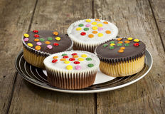Cupcakes decorated with smarties Stock Photo