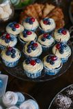 Cupcakes decorated with whipped cream, cherry and blueberry - candy bar, tasty buffet stock photography