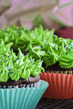 Cupcakes. Delicious cupcakes with green frosting and sprinkles Royalty Free Stock Photography