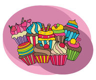 Cupcakes design set. Cartoon free hand draw doodle. Vector illustration Stock Photo