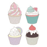 Cupcakes Design Vector Set. Illustration of cartoon delicious cupcakes in pastel theme.Cute cupcakes design vector set Stock Illustration