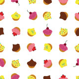 Cupcakes with different toppings and decorative elements. Cute seamless background pattern. Festive party cupcakes with different toppings and decorative Royalty Free Stock Photo
