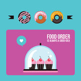 Cupcakes and donuts Colorful banner Delicious sweet dessert Stock Images