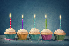 Cupcakes with dotted candles Royalty Free Stock Image