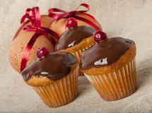 Cupcakes  and Easter Eggs Stock Photo