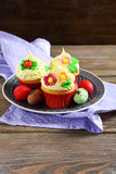 Cupcakes with Easter eggs Royalty Free Stock Photos