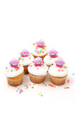 Cupcakes for Easter with Six Bunnies Royalty Free Stock Photography