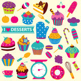 Cupcakes elements clip art set Royalty Free Stock Image
