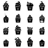 Cupcakes emoji icons set in flat style. Stock Photo