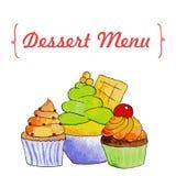 Cupcakes en roomijs Stock Afbeelding