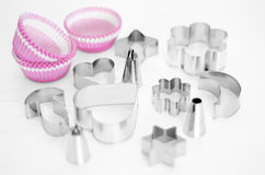 Cupcakes equipment, baking utensils. Royalty Free Stock Images
