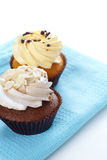 Cupcakes on fabric b Royalty Free Stock Image