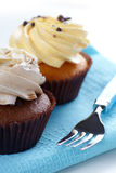 Cupcakes on fabric Stock Images
