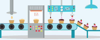 Cupcakes factory. Machine for the production of cupcakes. With chocolate, cream and strawberry. Flat style Royalty Free Stock Photo