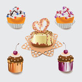 Cupcakes. Festive cakes. Set of pictures with food. Dough. Cherry and chocolate muffins, a cake with milk and white chocolate, red fruit syrup, cherries, round Royalty Free Stock Photo