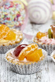 Cupcakes filled with fresh fruits. Royalty Free Stock Image