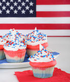 Cupcakes and Flag. Red white and blue cupcake with american flag Royalty Free Stock Photography