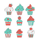 Cupcakes flat icons on  background Royalty Free Stock Photos