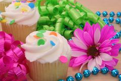 Cupcakes With Flower stock photos