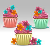 Cupcakes flower. Illustration of cupcakes flower icons Stock Images