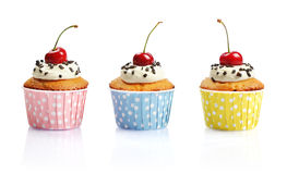 Cupcakes  with fresh cherry Stock Photos