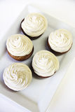 Cupcakes with frosting on white vertical Royalty Free Stock Photos