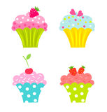 Cupcakes with fruits Royalty Free Stock Image