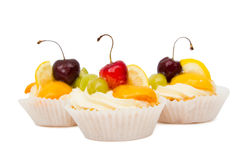 Cupcakes with fruits Stock Photography