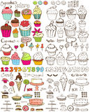 Cupcakes Galore Hand Drawn Collection Stock Images