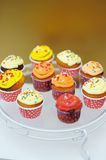 Cupcakes on glass plate Royalty Free Stock Images