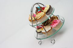 Cupcakes - glass tray Stock Photography