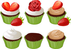 Cupcakes in green cup Royalty Free Stock Photography