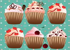Cupcakes on the grren   background Stock Image