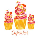 Cupcakes in hand drawn style. royalty free illustration