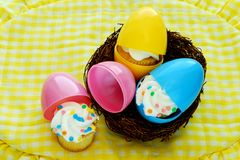 Cupcakes Hatch from Easter Eggs Stock Image