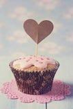 Cupcakes with heart cakepick Stock Photos