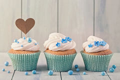 Cupcakes with heart cakepick Stock Image
