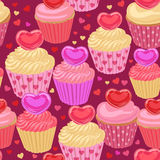 Cupcakes with hearts seamless pattern Royalty Free Stock Photos