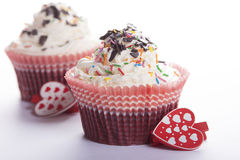 Cupcakes and hearts  . Royalty Free Stock Photo