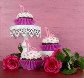 Cupcakes with high heel stiletto fondant shoes on stands Royalty Free Stock Photography